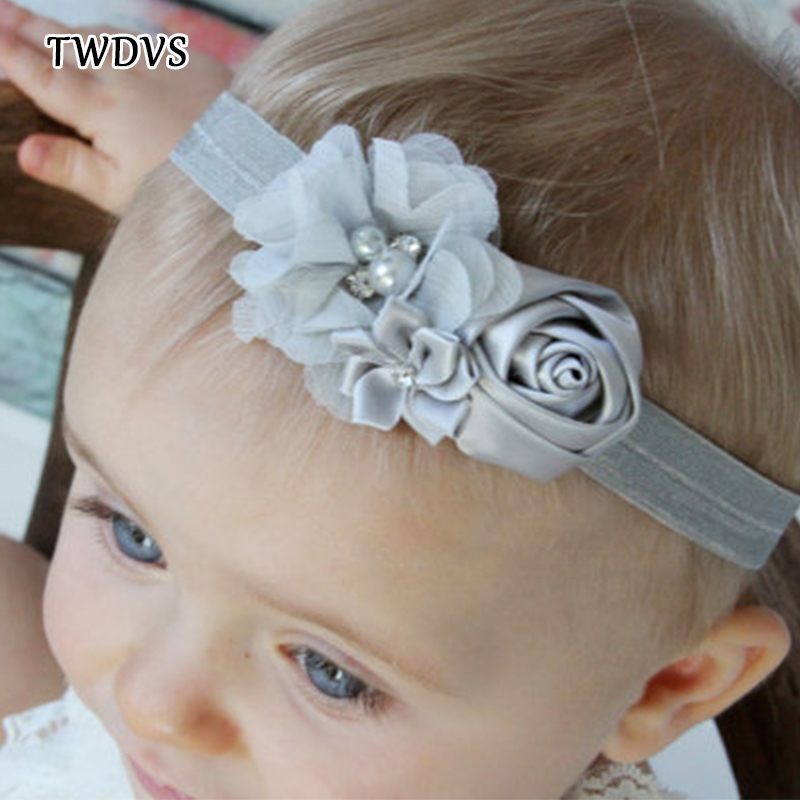 TWDVS Flower Headband Kids hair Accessories Newborn diamond Rose Flower Chiffon Headband Girls Elastic Hair Bands Headwear W040