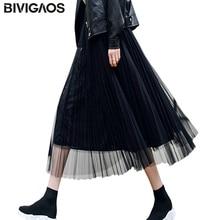 BIVIGAOS Лето Стиль досуга модный женщин Тюль плиссированная юбка черный Высокая Талия Миди-юбки тонкий шифон сетка пряжа Свободные женские длинные юбки