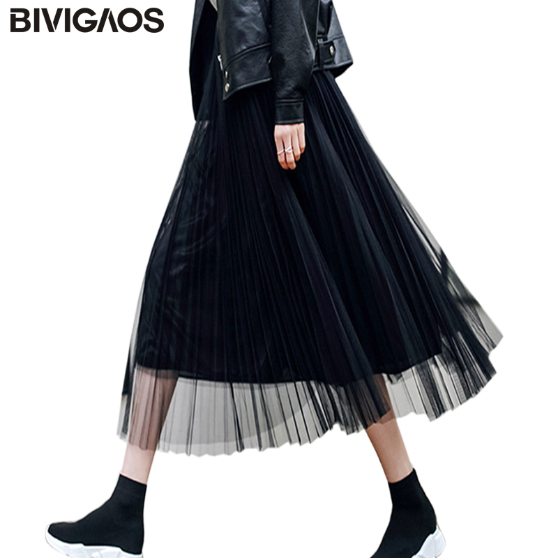 BIVIGAOS 2019 Summer Women Tulle Skirt Pleated Skirt Black High Waist Midi Skirts Thin Chiffon Mesh Yarn Loose Long Skirts Women