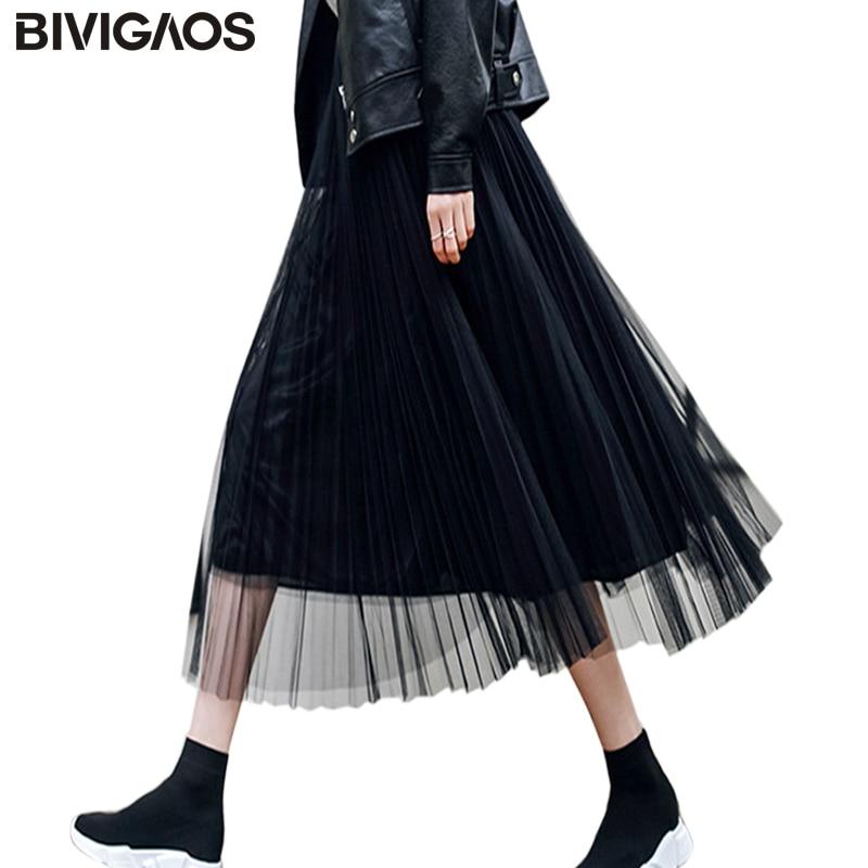 BIVIGAOS 2019 Summer Women Tulle Skirt Pleated Skirt Black High Waist Midi Skirts Thin Chiffon Mesh Yarn Loose Long Skirts Women