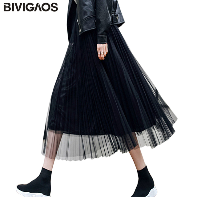 d7ecf02e2 BIVIGAOS 2019 Summer Women Tulle Skirt Pleated Skirt Black High Waist Midi Skirts  Thin Chiffon Mesh Yarn loose Long Skirts Women