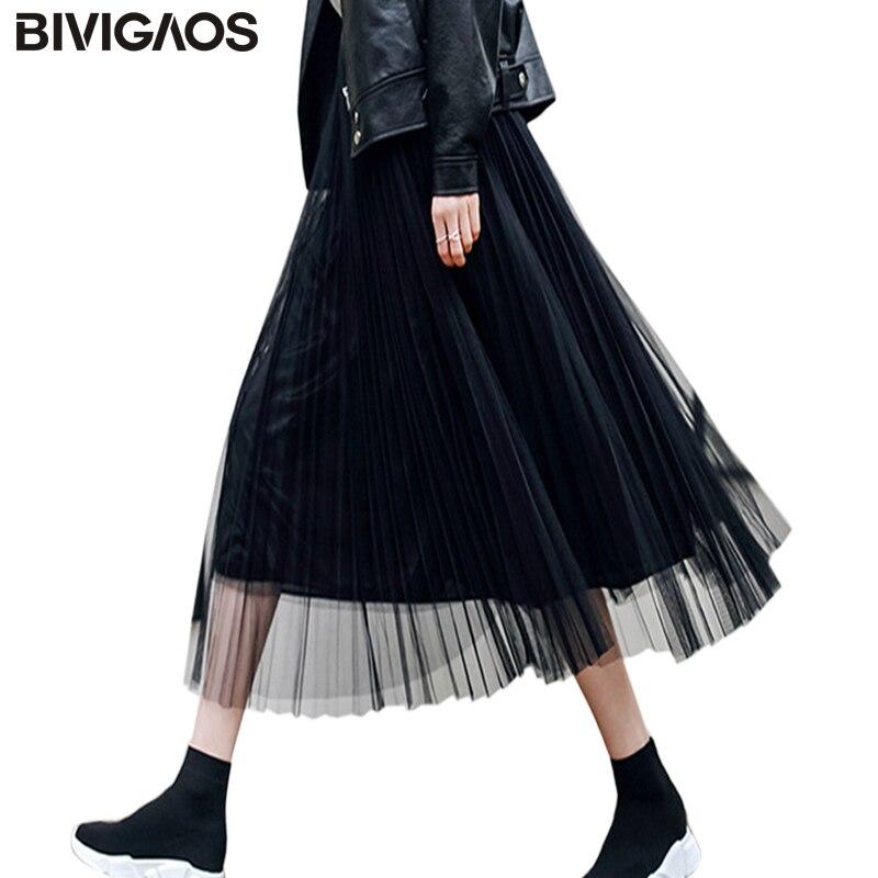 Bivigaos 2019 verão feminino tule saia plissada preto cintura alta midi saias fina chiffon fio de malha solta saias longas