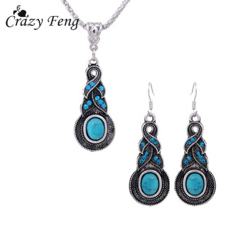Crazy Feng Fashion Jewelry Hot Sale Ethnic Blue Stone Jewelry Sets Tibetan Silver Necklace 4