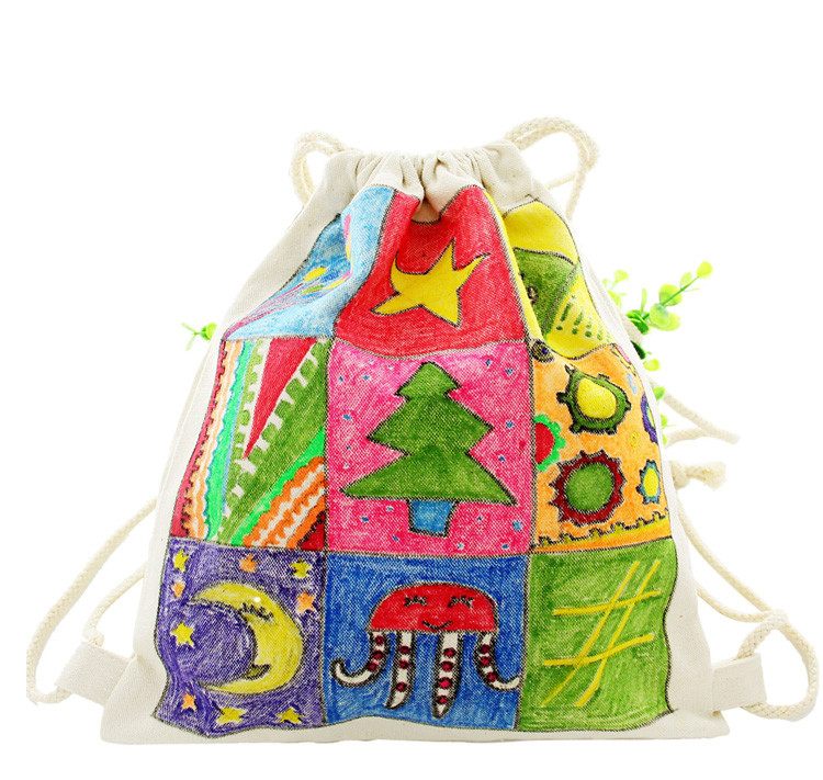 3Pcs/Set Blank DIY hand painted canvas bag creative graffiti backpack toys Handmade materials for children Holiday gifts