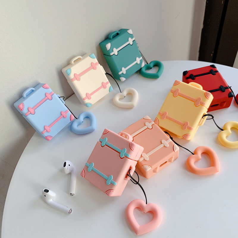 Retro Cute Suitcase Luggage Case Soft Silicone Protective Cover For Apple Airpods 1/2 Bluetooth Earphone With Finger Ring Strap