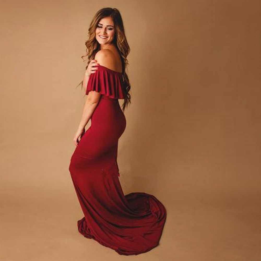 2019 hamile elbiseleri fotoğraf çekimi için fırfır yaka elbise hamile fotoğrafçılığı sahne gebelik elbise annelik yetişkin