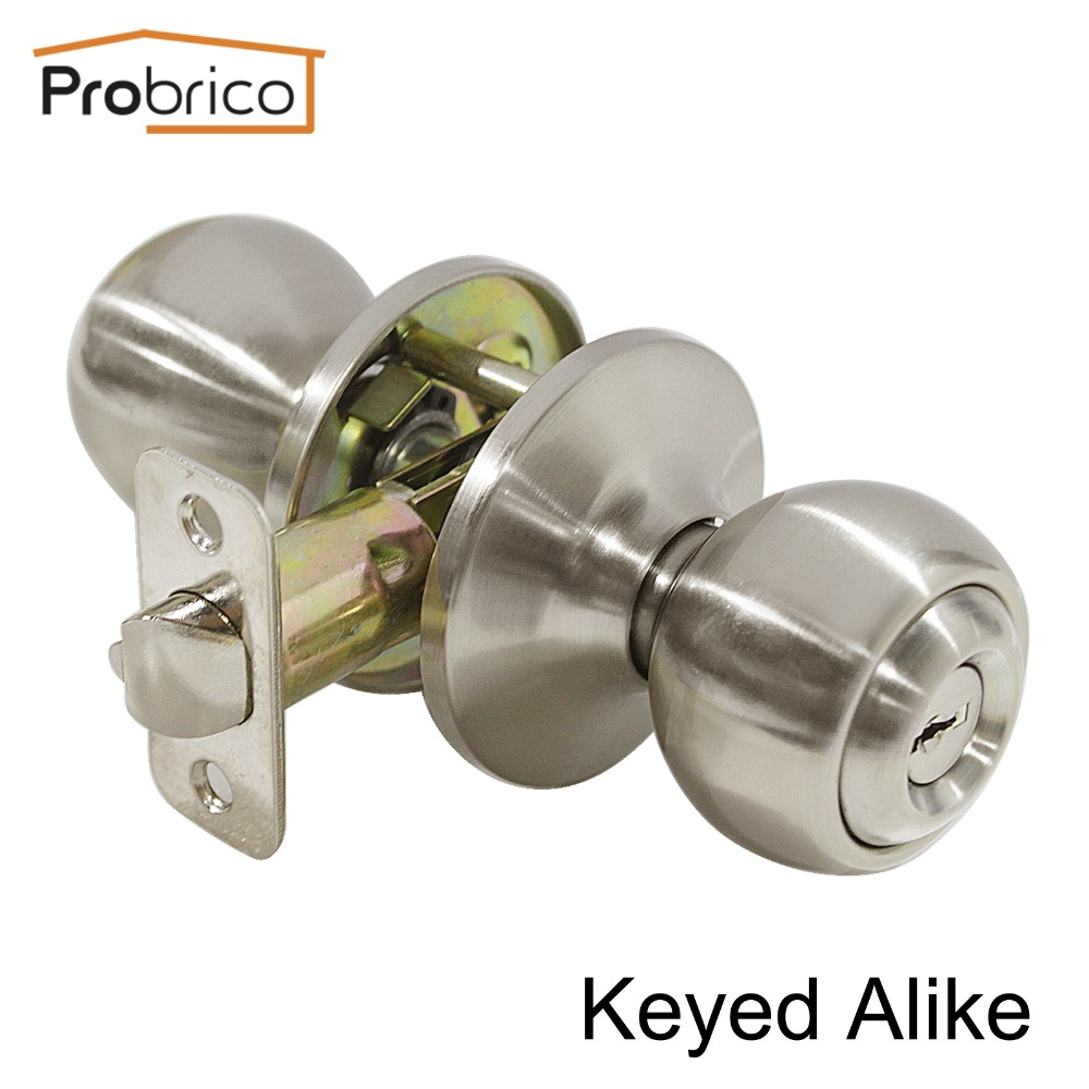 Probrico 10 PCS Keyed Alike Entrance Lock Stainless Steel Safe Locker Security Door Lock Key Satin Nickel Door Handle DL5763SNET