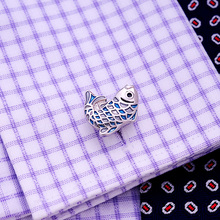 KFLK Luxury 2019 NEW shirt cufflinks for mens Gifts Brand cuff buttons Blue fish cuff links High Animal Quality Designer Jewelry