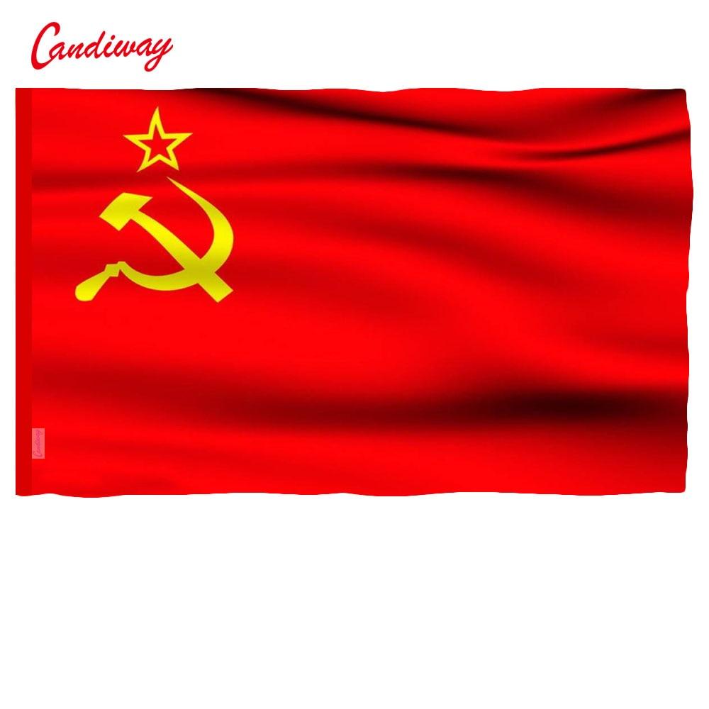 Candiway Vermelho Bandeira Da União das Repúblicas Socialistas Soviéticas CCCP URSS BANDEIRA Ao Ar Livre Indoor bandeira Russa 90x150 cm