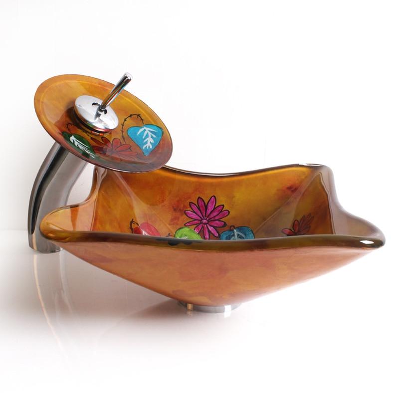 Maternelle créative verre bol d'art en verre trempé évier salle de bains lavabo lavabo LO622552