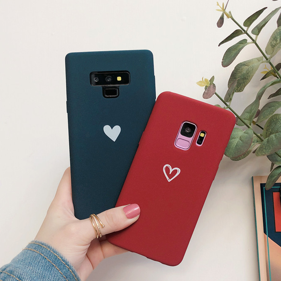 For Galaxy Note 9 Note 8 Case Love Heart Print Back Cover For Samsung S8 S9 Plus Retro Lovely Pattern Matte Soft TPU Phone Cases