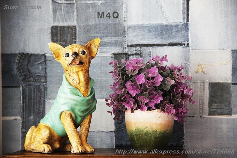 Distress Retro Glaze resin Ji Wawa Dogs Chihuahua Retro living room - Decoración del hogar