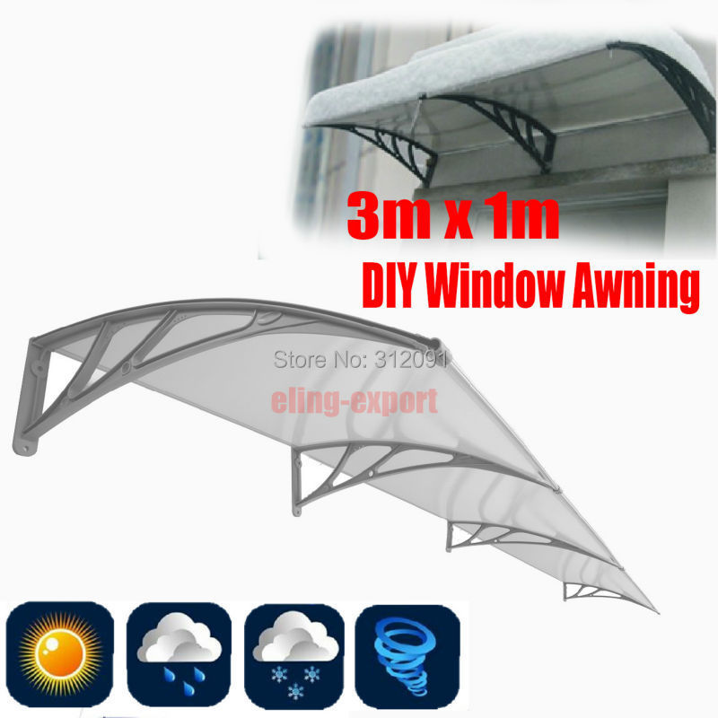 Send From Sydney- New Arriaval NEW Outdoor DIY Awning - Front Door/ Patio Cover 1mx3m Polycarbonate Awning Cover