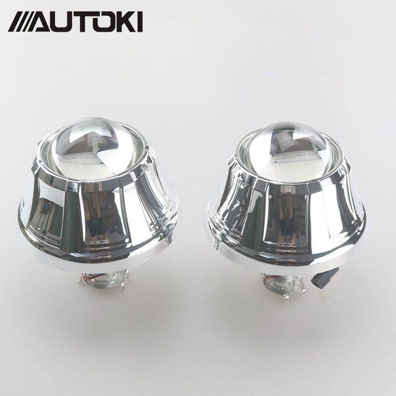 Autoki 3 0 inches Full Metal HID Bi xenon Projector Lens Headlight Retrofit Kit Xenon Headlamps