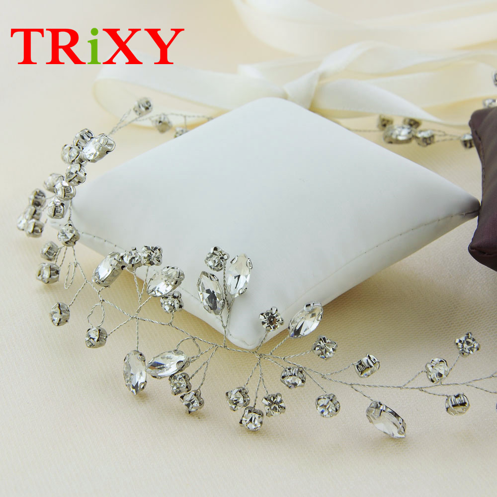 TRiXY H34 Crystal Rhinestones Beading Wedding Hair Accessories Flora Pearls Beaded Bridal Accessories for Wedding and Party