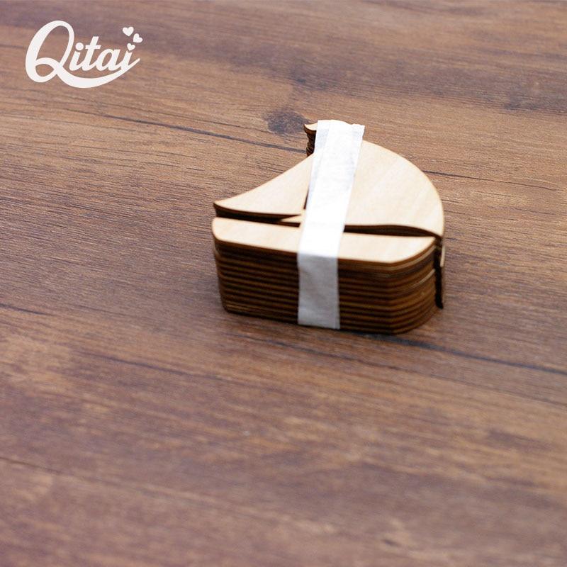 QITAI 12 Pcs / lot perahu berlayar jauh Kayu Alam Veneer DIY - Dekorasi rumah - Foto 2
