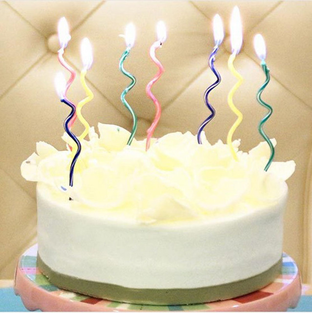 16pcs New Color Curve Birthday Cake Shape Candles Spiral Candle