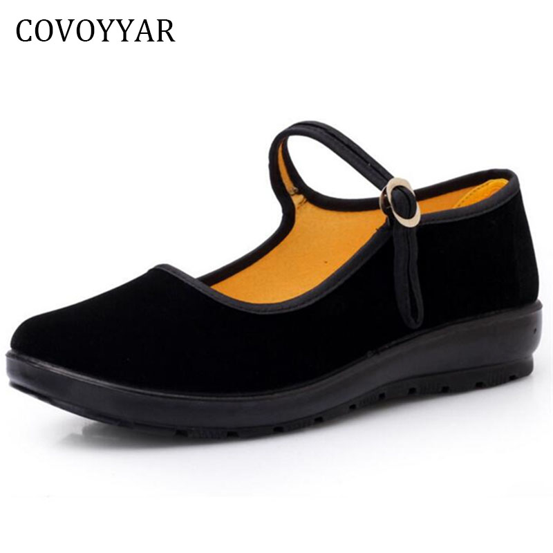 COVOYYAR 2018 Mary Janes Lady Flats Buckle Strap Comfort Women Shoes Round Toe Solid Casual Black Shoes Size 34~41 WFS508 lin king fashion women casual shoes round toe thick sole ankle strap lolita shoes sweet buckle bowtie solid lady outdoor shoes
