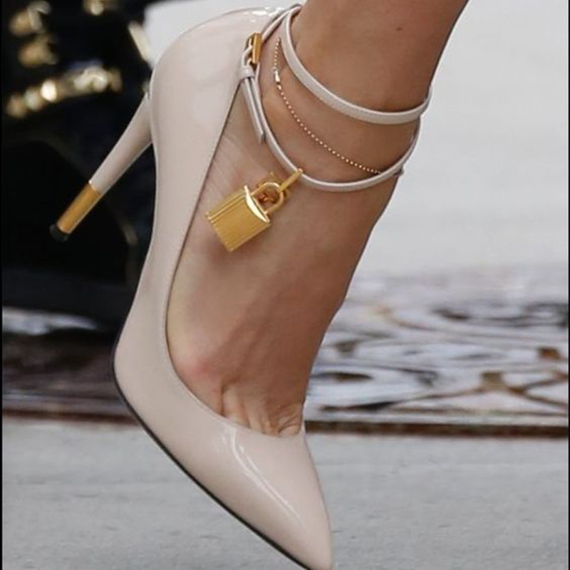 Femmes Cadenas Pompes Parti Choudory Pic Talons Cuir As Pic Femme Cheville Haute Verni À Lacets as Bout En Celebrity Sangle Chaussures Piste Pointu UvUTC4wqa