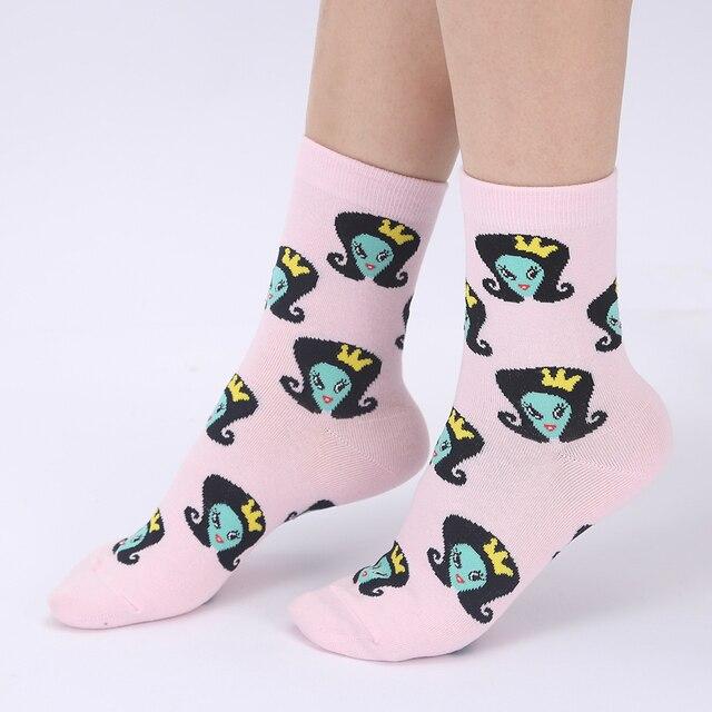 YEADU Women's Socks Japanese Cotton Colorful Cartoon Cute Funny Happy kawaii Skull Alien Avocado Socks for Girl Christmas Gift 3