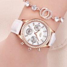 LIGE Элитный бренд Женская Мода Повседневное кожа кварцевые часы Дамы Алмазный Платье часы Многофункциональный Relogio Feminino 2017
