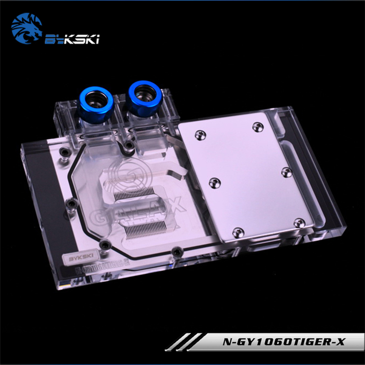 Bykski N-GY1060TIGER-X Full Cover Graphics Card Water Cooling Block RGB/RBW/ARUA for Galax GTX1060 6GB OC bykski n ig1060oncev2 x gpu water cooling block for colorful gtx1060 gaming