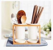 Бесплатная доставка Японской белой керамической трубки бамбука бинокль палочки для еды коробка трубки кухня получать идея падение