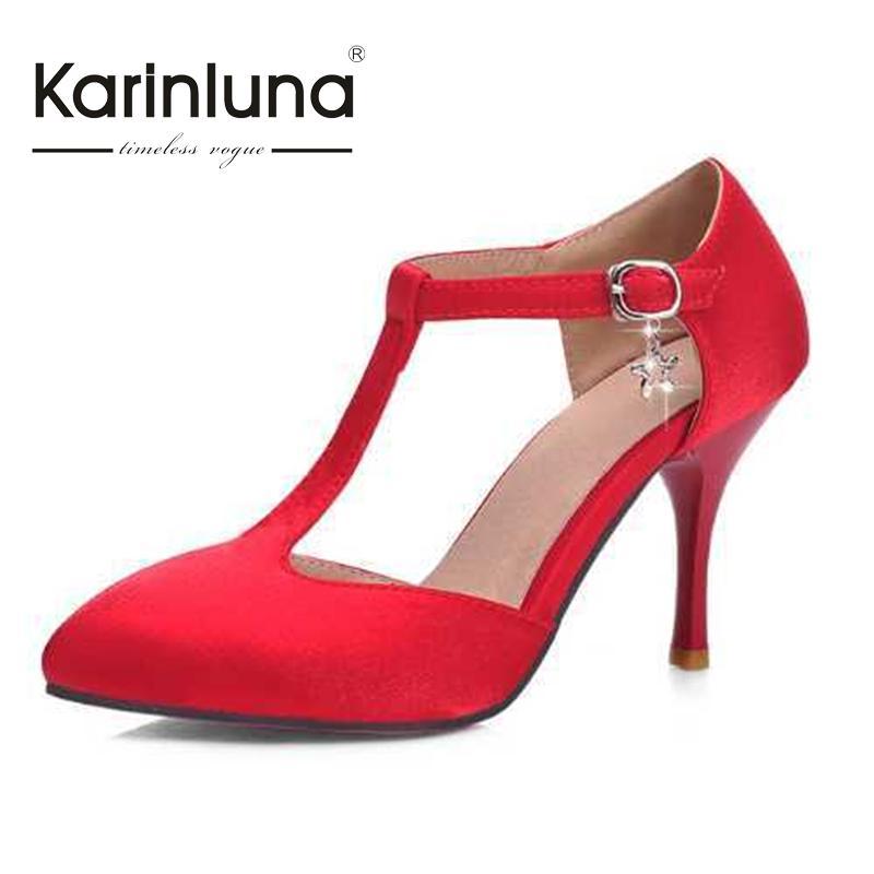 KarinLuna Top Wedding Party Shoes Women High Heels Brand Design Romantic Summer Ankle Buckle T Strap Roman Platform Pumps