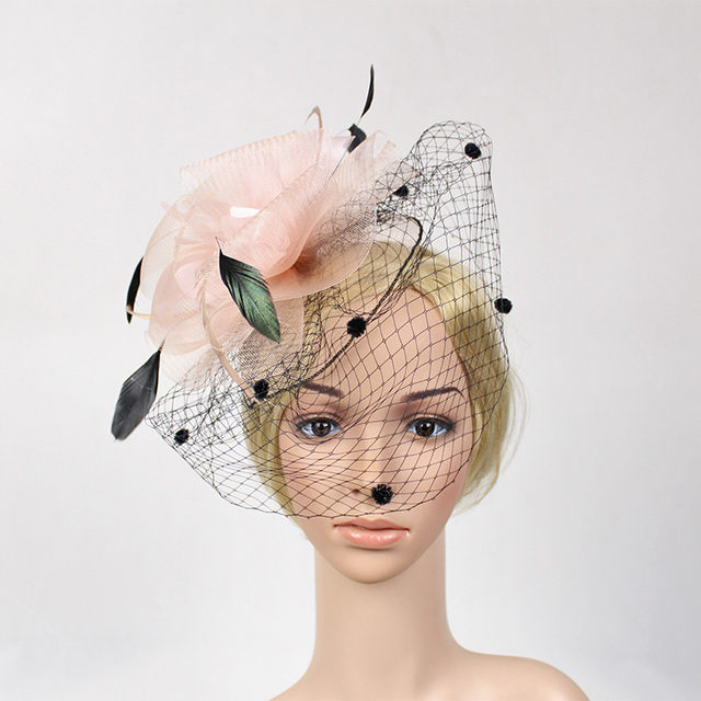 cdcc0815ad90b 2016 European Women Fancy Feather Fascinator Hats Black Birdcage Veil  Wedding Hairpin Fascinator Clip Pink Net