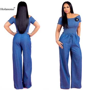 575ed0384092 Holanono azul vestidos monos para mujeres Sexy Puff manga fuera del hombro  volantes pantalones de pierna ancha pantalones vaqueros largos Mono mono