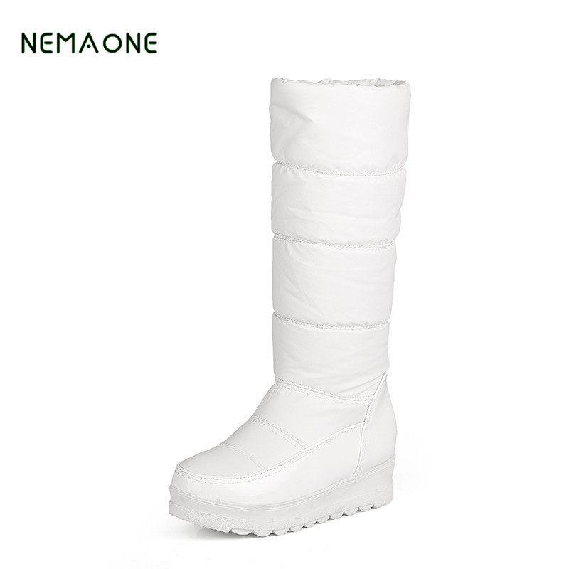 NEMAONE 2017 New high quality fur snow boots women super warm down pu leather wedges high boots female shoes woman black&white