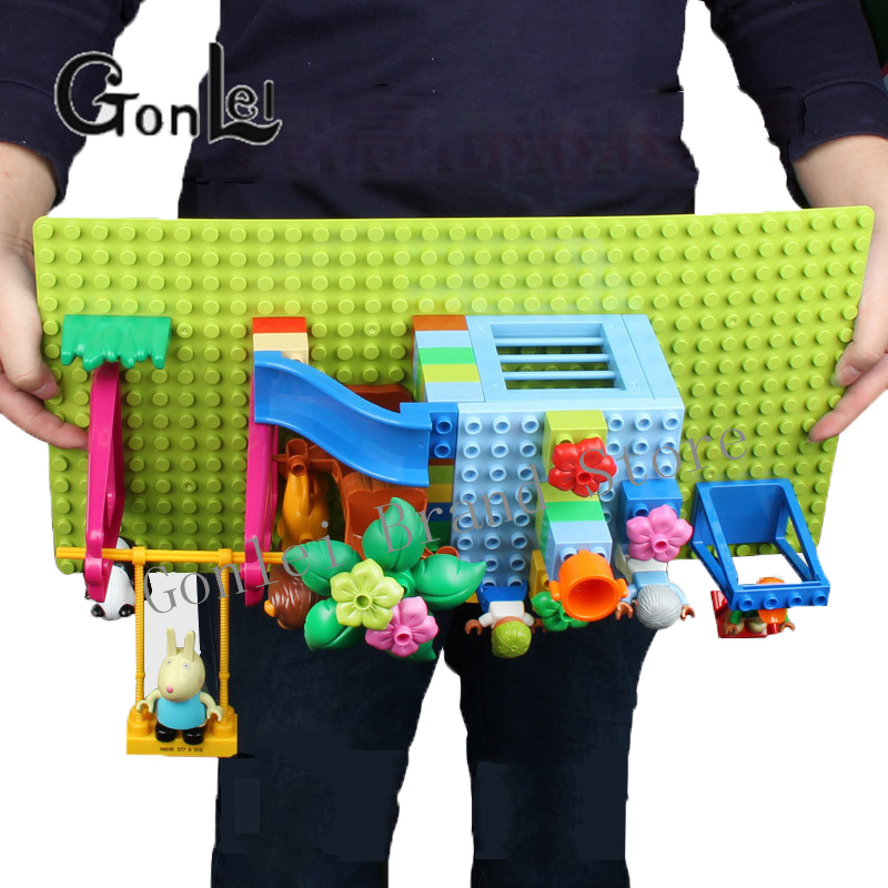 Big Size Blocks Base Plate 32*16 Dots 51*25.5 cm Baseplate DIY Building Blocks Toys Compatible leGoING Duploe For Children Gift 2017 brand new fashion big size 40 40cm blocks diy baseplate with 50 50 dots small bricks base plate green grey blue