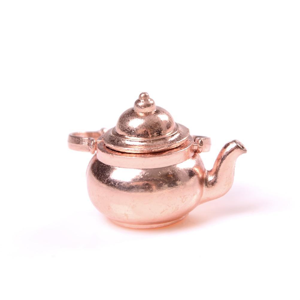 Alloy 1/12 Dollhouse Miniature Copper Tea Kettle/Tea Pot Classic Toys Pretend Play Furniture Toy For Miniature Kitchen Accessory