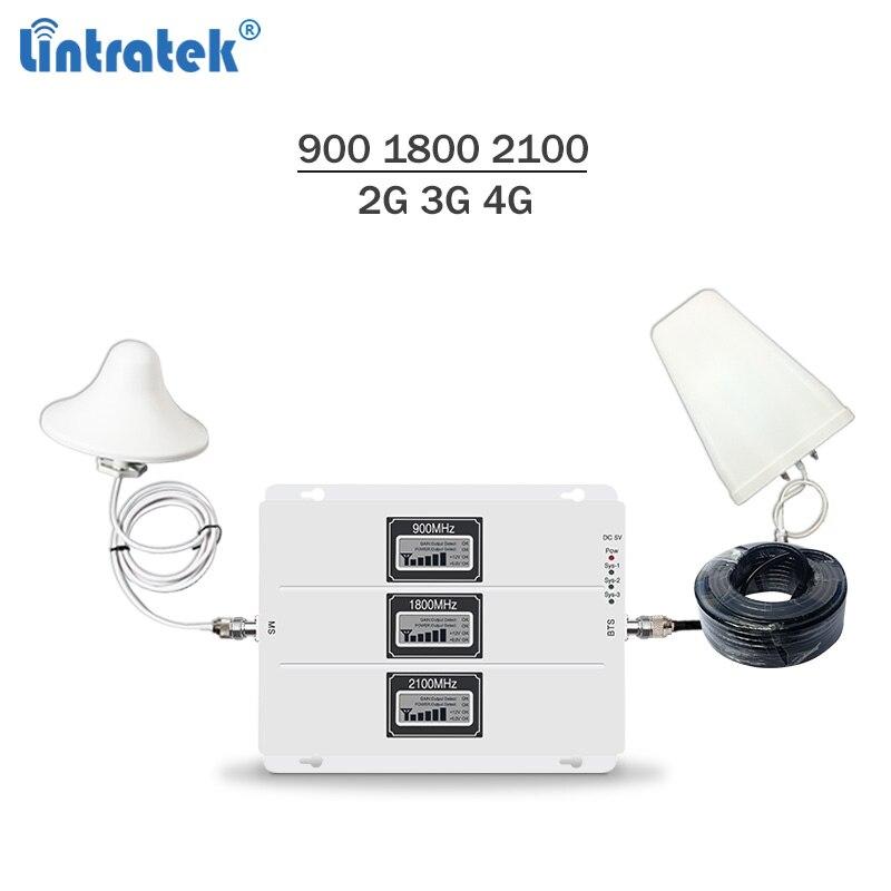 Amplificateur de Signal Lintratek 2G 3G 4G répéteur Tri bande GSM 900 3G 2100 4G LTE 1800 Mhz amplificateur de Signal 65dB Kit répéteur AGC #7.3