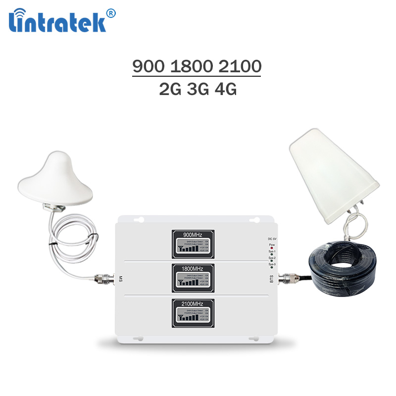 Lintratek  Signal Booster 2G 3G 4G Tri Band Repeater GSM 900 3G 2100 4G LTE 1800Mhz Signal Amplifier 65dB AGC Repeater Kit #7.3