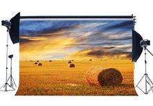 Rustikalen Ackerland Hintergrund Stroh Haystack Kulissen Heu Ballen Auf Weizen Feld Natur Herbst Hintergrund
