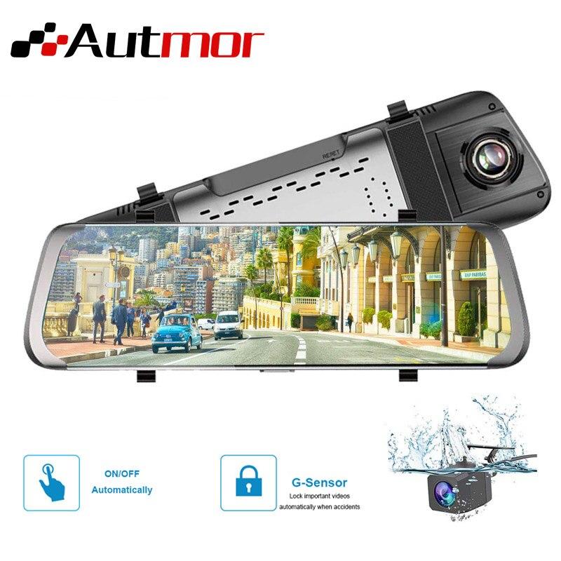 AUTMOR DVR Mirror Camera 4G ADAS Streamen Media FHD 1080 P Wifi 10 Inch Mirror Dash Cam 170 Degree Video Recorder