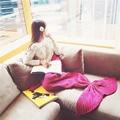 Children Mermaid Tail Blanket Wool Blended Knitted Mermaid Blanket for Adult Kids Swaddle Envelope Throw Bed Baby Sleeping Bags