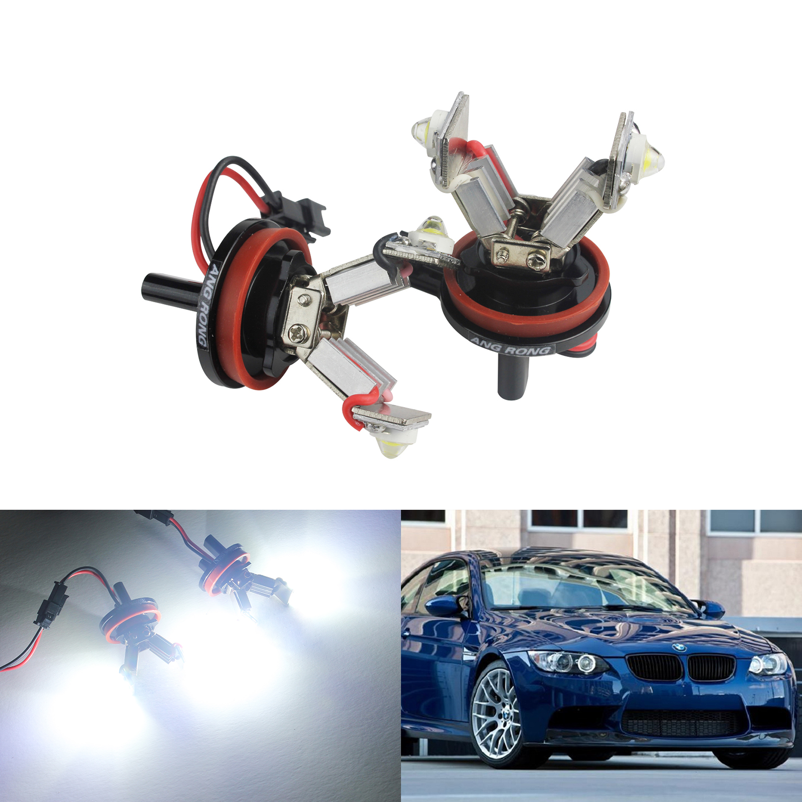 ANGRONG 2X LED 12W Angel Eyes Halo Light H8 Xenon Marker Bulb For BMW E90 E91 E92 E93 E60 E61 E63 E64 6w angel eyes blue light bulb for bmw e92 e93 e70 pair 8 30v