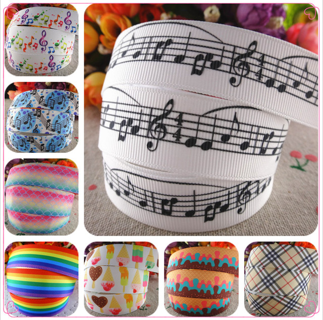 "14122324,New arrival 7/8"" 22mm musical note printed grosgrain ribbons hair accessories 10 yards"