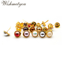 WISHMETYOU 30pcs 8Colors Dazzling Pearl Brads Embellishment Decoration Scrapbooking Frame 12.5mm Gold Color Base New
