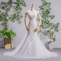 Mermaid Wedding Dress With Beading Lace Up Back Bridal Gown With Long Train Short Sleeves Bridal