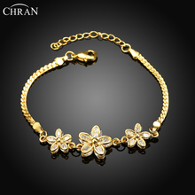 CHRAN Lovely Ladies Gifts Costume Wedding Jewelry Accessories Classic Gold Color Zircon Flower Bracelets for Women