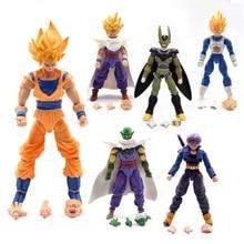 6pcs/set Dragon Ball Z Joint Movable Vegeta Piccolo Trunks Son Gohan Goku Gokou DBZ PVC Action Figure Model Toys For Children