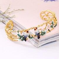 New Arrivals Enamel Glaze Romantic Cherry Blossoms Series Bird Gold Charm Bracelet For Women Jewelry Free Shipping