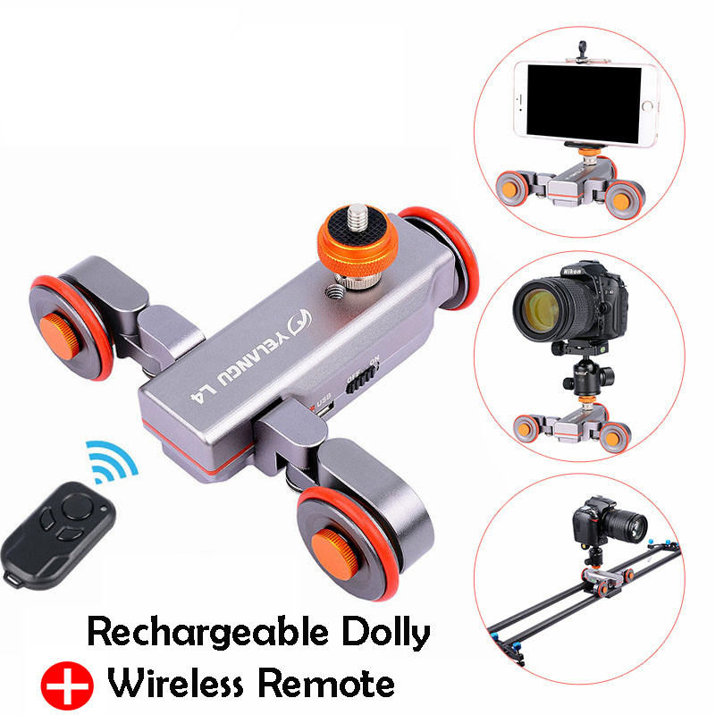 цена YELANGU DSLR Motorized Electric Autodolly Video Pulley Rolling Skater Slider w Remote Control for iPhone Canon Camera Vlogging