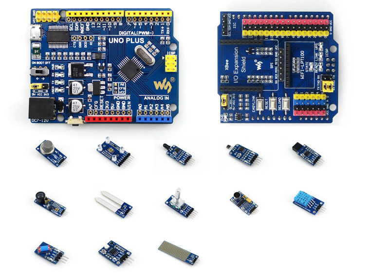 ATMEGA328P MCU Development Board Compatible with UNO R3 + IO Expansion Shield + Sensors Pack = UNO PLUS Package A atmega328p mcu development board compatible with uno r3 io expansion shield sensors pack uno plus package a