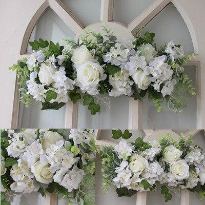 Aliexpress Buy White Silk Rose Door Lintel Flower Mirror Flower Garland Wedding Flower