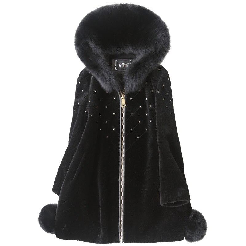 Mujer Manteau Nouveau Femmes Hiver Élégant Noir Automne Renard Abrigo Z775 De À rose Fourrure Capuchon Mince Vraie Veste Clothes100Laine 6vbgyYf7