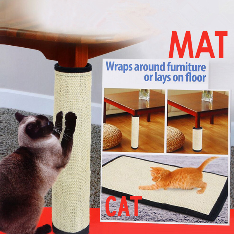 Cat Scratching Post Natural Sisal Mat Toy For Cats Catnip Tower Climbing Tree Cat Scratch Pad Board Protecting Furniture Foot